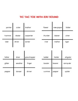 Articulation /s,z,r,l/ Tic Tac Toe