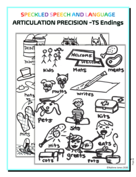Articulation - ts Endings for /S/ Precision - Coloring Page