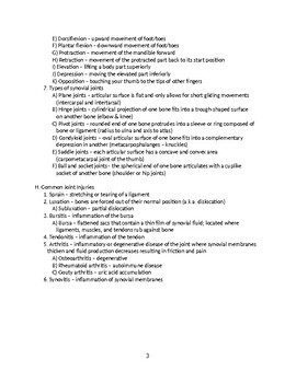 Articulations (Bone Joints) - Anatomy & Physiology Outline and Handout