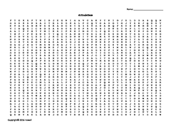 Articulations Vocabulary Word Search for Anatomy Students