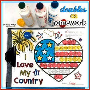 Articulatlon Dot Art for USA Patriotic Holidays (NO prep, ALL sounds}