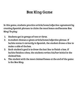 Articulos, Sustantivos, y Adjetivos Box King Game