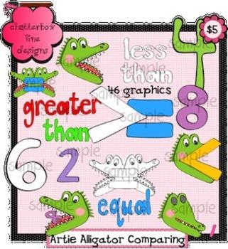 Artie Alligator Comparing Clip Art