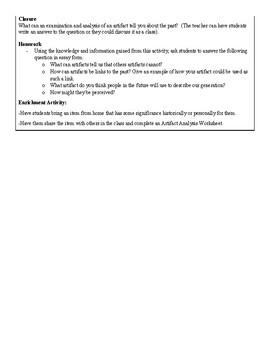 Artifact Analysis Lesson Plan