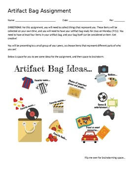 Artifact Bag Assignment (with brainstorming questions) (EDITABLE)