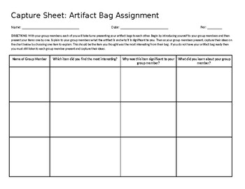 Artifact Bags Capture Sheet (EDITABLE)
