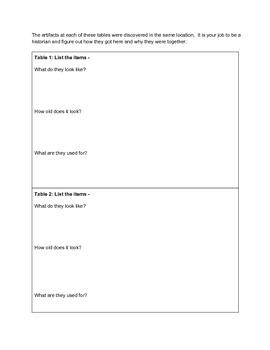 Artifacts Worksheet