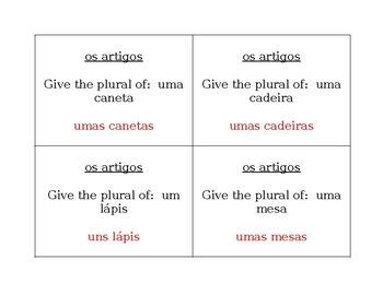 Artigos e Material escolar Portuguese Question Question Pass activity