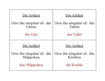Artikel und Schulsachen German Question Question Pass activity