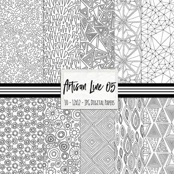 Black Line Geometric Background Paper, Doodled Digital Paper, Artisan Line 05