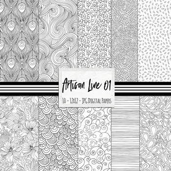 Artisan Line Digital Papers 01, Doodle Patterns, Black and White Background
