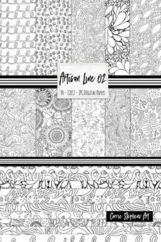 Background Paper: Black and White Floral Digital Paper, Doodle Pattern