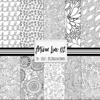 Artisan Line Digital Papers 02, Black & White Patterned Ba