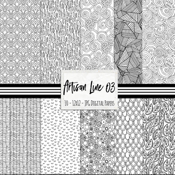 FREE Digital Papers, Artisan Line Backgrouds 03, Coloring Page, Dots