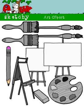 Artist / Art Materials Supplies Clipart Graphics 300dpi Color Gray Black Lined