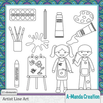 Artist, Art and Painting Line Art art and Digital Stamps