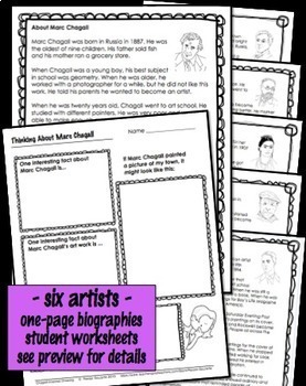 Art History Artist Biographies for Kids Set One