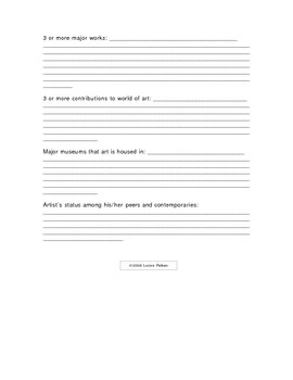 Artist Biography Questionnaire