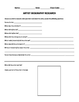 Artist Biography Research Worksheet