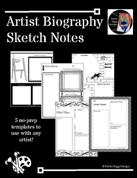 Artist Biography Sketch Notes (Series 2)- 5 Templates