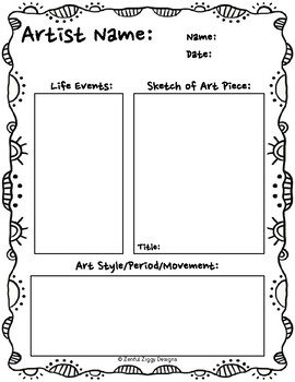 Artist Biography Sketch Notes (Series 3)- 5 Templates