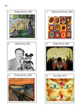 Artist Birthdays for Your Classroom Calendar