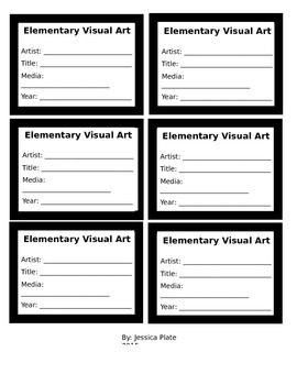 Artist Labels for Display