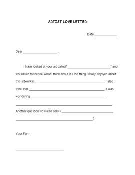 Artist Love Letter Cloze Letter