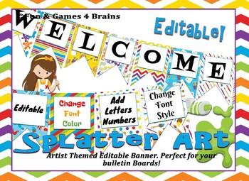 Artist Paint Splatter themed EDITABLE bulletin board banner
