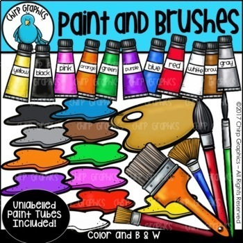 Artist, Paint, and Brushes Clip Art - Chirp Graphics