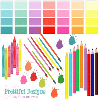 Artist Party Clip Art Colored Pencils, Crayons, Paint Brushes