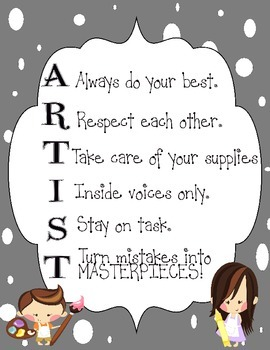 Artist Classroom Management Poster-Gray with Polka Dots
