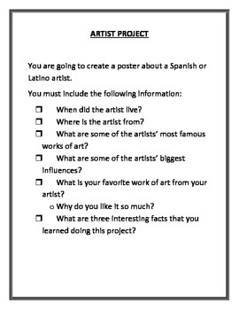 Artist Project with Example