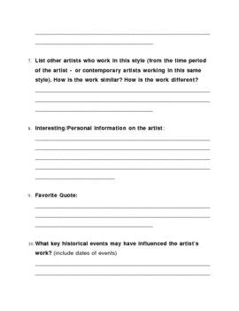 Artist Research Guide Worksheet