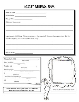 artist research worksheet by brian romeo teachers pay teachers. Black Bedroom Furniture Sets. Home Design Ideas