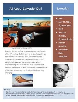 Salvador Dali Surrealism Sketchbook Prompt