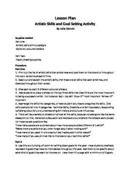 Artist Skills Recognition and Goal Setting