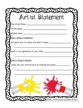 Artist Statement- A Student-Friendly Self-Evaluation