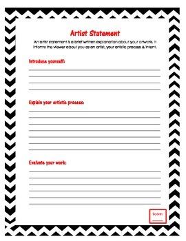 Artist Statement Template | Artist Statement Form By Green Mountain Art Shop Tpt
