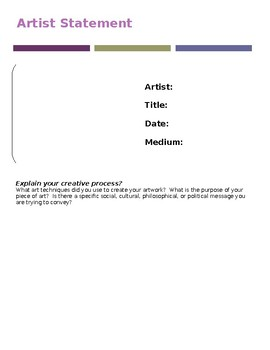 Artist Statement Worksheet