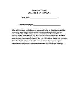 Artist Statement Worksheet - R