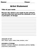Artist Statement Worksheet for Student Self-Reflection of Work