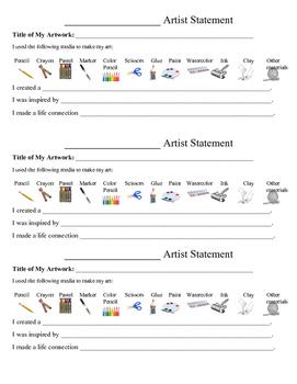 Artist Statement for Elementary Art Teachers PDF