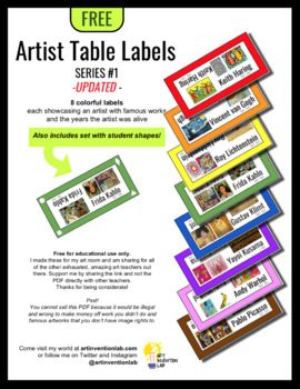 Artist Table Labels in 8 Colors