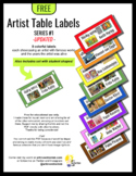 Artist Table Labels in 8 Colors - Series #1