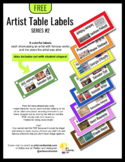 Artist Table Labels in 8 Colors - Series #2