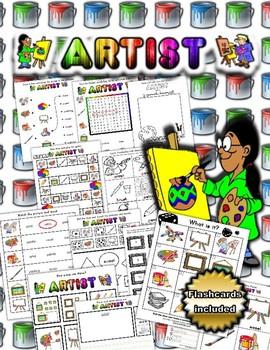 Artist Themed Activity Set / Worksheets + Flashcards