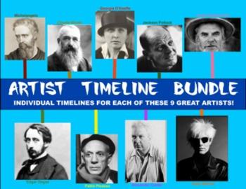 Artist Timeline Bundle:  Individual Timelines for 9 Great Artists!