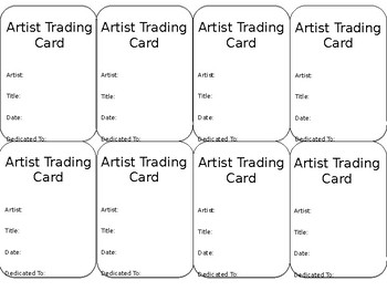 Artist Trading Card Back Template