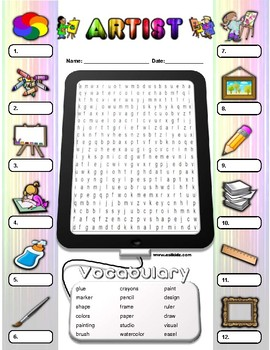 Artist Vocabulary / Identify Activity